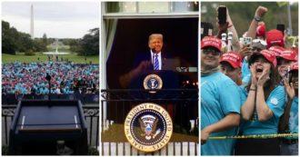 """Usa, Trump parla alla folla dal balcone della Casa Bianca: """"Sto bene"""". Media: """"Sostenitori ammassati, molti senza mascherina"""""""