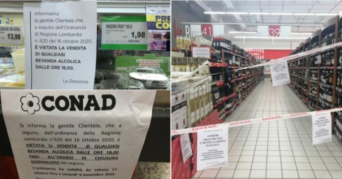 In Lombardia è vietato comprare alcolici dopo le 18, anche al supermercato: chiuse le corsie di birra e vino. Sì alla consegna a domicilio