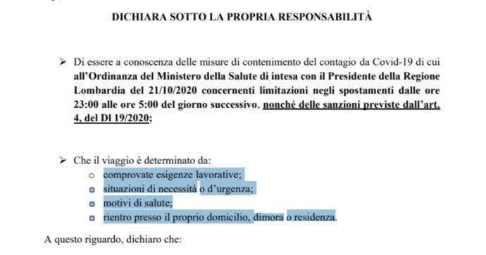 Autocertificazione, il modulo per spostarsi in Lombardia, Lazio e Campania durante il coprifuoco
