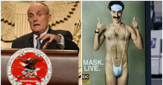 Rudolph Giuliani in imbarazzo: si apparta con una (finta) giornalista e inizia a toccarsi, poi l'intervento di Borat