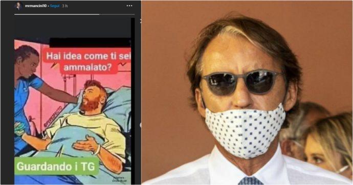 """Covid, polemica per la vignetta condivisa da Mancini: """"Come ti sei ammalato? Guardando troppi Tg"""". Poi le scuse: """"Non volevo offendere"""""""