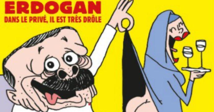"""Erdogan infuriato per caricatura su Charlie Hebdo: querela la rivista. Al-Sisi: """"Non c'è libertà se si offendono miliardi di persone"""""""