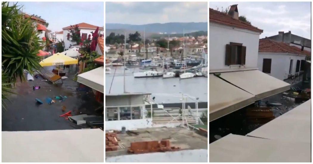 Terremoto a Smirne, mini-tsunami colpisce la città: barche alla deriva e strade come fiumi