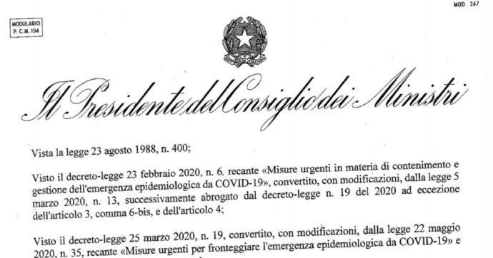 Nuovo dpcm, ecco il testo integrale. Tutte le misure in vigore dal 6 novembre al 3 dicembre