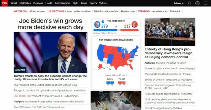 """Elezioni Usa, il quotidiano Libero: """"La Cnn ha revocato la vittoria di Biden in Arizona"""". Ma l'emittente Usa smentisce: """"È falso"""""""