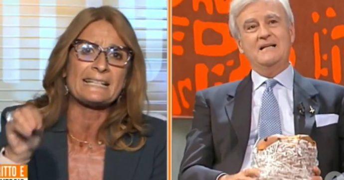"""Dritto e Rovescio, Rinaldi sventola un panettone e scoppia la rissa con Simona Malpezzi. Interviene Del Debbio: """"Mi inc***, decido io chi c*** parla"""""""