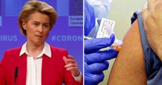 """Vaccini Covid, nuovo aumento di dosi per l'Ue. Von der Leyen: """"Altre 300 milioni di dosi Pfizer"""""""