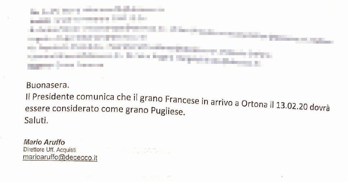 De Cecco, grano francese spacciato per pugliese: indagati i vertici per frode