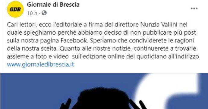 """La scelta del Giornale di Brescia: se ne va da facebook. """"Falsità e insulti: non vogliamo più essere corresponsabili, impossibile moderare"""""""