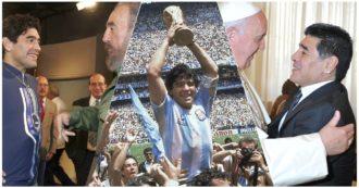 """La vita di Maradona in 10 scatti: Napoli, il trionfo mondiale, l'abbraccio a Bergoglio, Fidel Castro, Chavez e il """"gol del secolo"""" all'Inghilterra"""