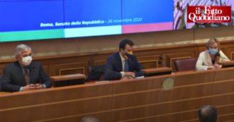 """Tajani, Meloni e Salvini in conferenza stampa: """"Votiamo sì a scostamento di Bilancio, ma non è sostegno al governo. Siamo alternativi"""""""