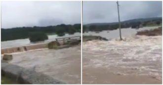 Maltempo in Sardegna, il fiume in piena abbatte un ponte nel Nuorese: le immagini