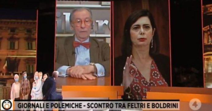 """Fuori dal Coro, Vittorio Feltri si commuove in diretta: """"Tu pubblica tutte le stupidaggini della Boldrini, poi ci penso io"""""""