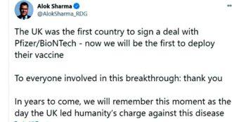 """Vaccino Pfizer approvato in Uk, """"guerra"""" a colpi di tweet tra ambasciatore tedesco e ministro britannico"""