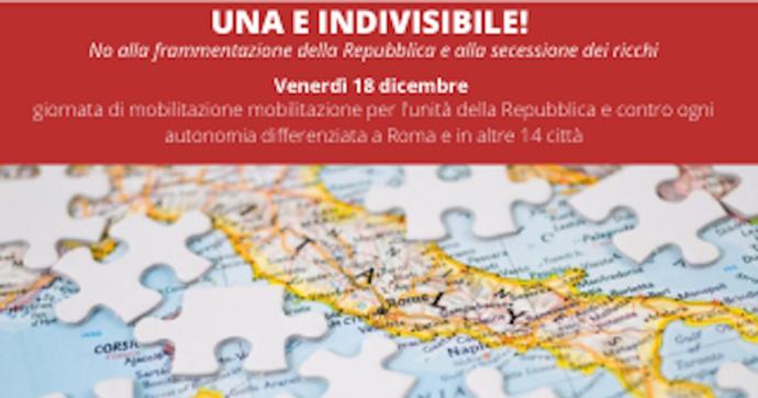 """""""Una e indivisibile"""", il 18 dicembre la Rete dei numeri pari manifesta in 14 piazze contro l'autonomia differenziata"""