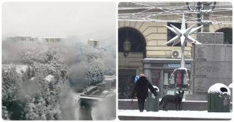 Neve al Nord, da Genova a Torino fino al Veneto: città e paesi imbiancati – Video