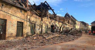 """Terremoto in Croazia, scossa di magnitudo 6.4. Distrutto il centro di Petrinja, crollati l'ospedale e un asilo: """"Almeno 7 morti, anche bambina di 12 anni"""". Almeno 20 feriti, sei sono gravi – la diretta"""