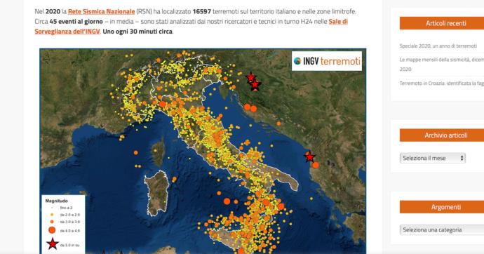 """Terremoti, nel 2020 l'Ingv ha localizzato più di 16mila scosse: """"In media 45 al giorno, uno ogni mezz'ora"""". Sul sito la mappa interattiva"""