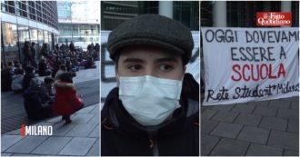 """Milano, studenti in piazza contro la didattica a distanza: """"Alienante, non è un metodo educativo. Fontana ci ascolti, ecco le nostre priorità"""""""