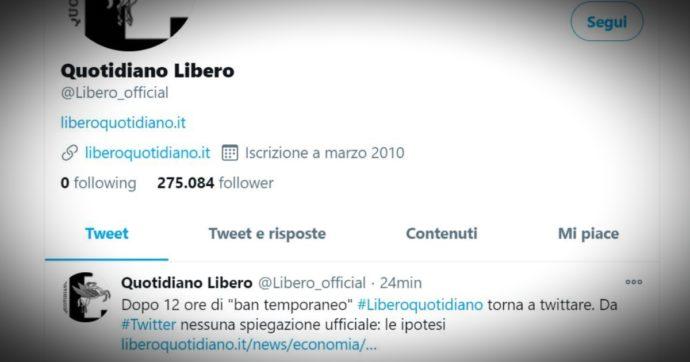 """Libero, Twitter rimuove l'avviso dall'account del quotidiano: """"Siamo tornati. Spiace"""""""