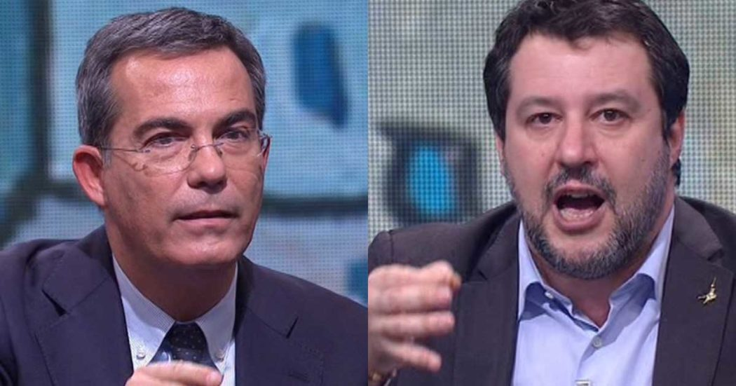 """Recovery, la fake news di Salvini a La7: """"E' stato bocciato dall'Ue"""". Floris: """"Ma non è vero"""". Poi il leghista dice: """"Meglio chiedere soldi al mercato"""""""
