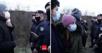 مهاجران ، نمایندگان حزب PD در مأموریتی در مسیر بالکان ، توسط پلیس در مرز بین کرواسی و بوسنی مسدود شده اند: