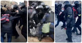 Russia, la violenza della polizia contro i manifestanti pro-Navalny: uomo colpito dal taser perde conoscenza – Video