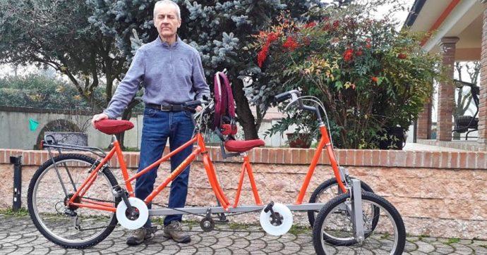 """Anselmo, il 60enne mantovano che nella notte realizza bici per ragazzi con disabilità: """"Ho fatto tandem a 3 ruote o con scivolo-cingolato"""""""