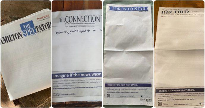 Canada, i giornali escono con le prime pagine vuote e il governo pensa a una legge per far pagare le news a Google e Facebook