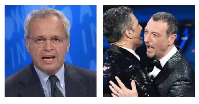 """Sanremo 2021, Enrico Mentana """"difende"""" il Festival: """"Come nelle partite manca qualcosa, ma non è colpa dei giocatori"""""""