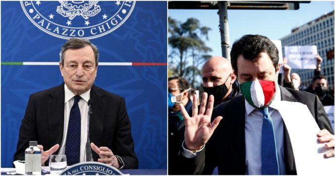 """Salvini ora minaccia il governo sulle aperture: """"Impensabile tenere chiuso ad aprile"""". Draghi gli spiega: """"Dipende dai dati dei contagi"""""""