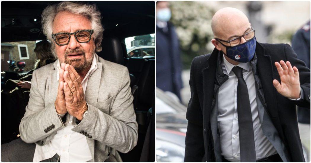 """Grillo si presenta con Cingolani dai parlamentari M5s: """"Draghi è stato di parola. Reddito universale sarà la mia battaglia finale. Tetto dei due mandati? Io resto se c'è questo pilastro"""""""