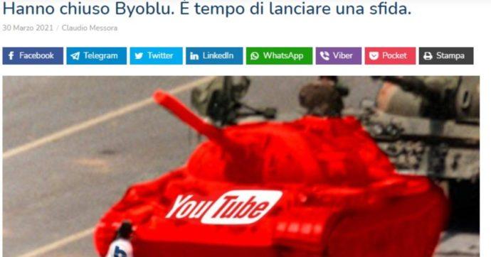 """ByoBlu, YouTube chiude l'account di Claudio Messora. """"Ora compriamo un canale sul digitale terrestre, aiutateci"""""""