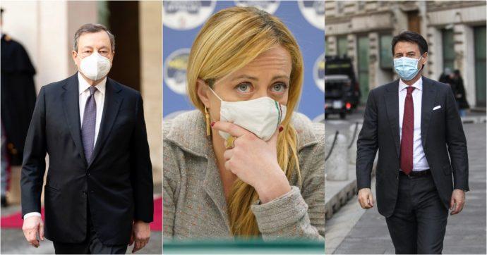 Sondaggi, la fiducia in Mario Draghi in calo di 1,7 punti in una settimana. Salgono Meloni, Conte e Letta. Lega sotto il 23%