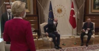 Turchia, Erdogan riceve Michel e von der Leyen ma lascia la presidente della Commissione europea senza sedia – Video