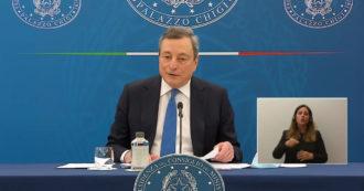 """Riaperture, Draghi: """"Rischio ragionato, norme restano scrupolose. Spostamenti tra Regioni di colore diverso solo con un pass"""""""