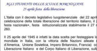 """Il messaggio sul 25 aprile pieno di sfondoni del direttore dell'ufficio scolastico delle Marche. E riesce a non scrivere mai la parola """"fascismo"""""""
