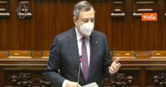 """Recovery, Draghi alla Camera: """"Profondo rispetto per il Parlamento, tempi erano ristretti. Scadenza del 30 aprile non è data mediatica"""""""