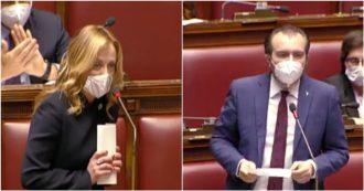 """Recovery, Meloni: """"Parlamento ignorato e deriso, dov'è ora Renzi, in Arabia?"""". Molinari (Lega): """"Noi ben pagati per leggere testo in poche ore…"""""""