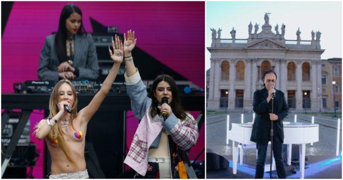 """Concertone Primo Maggio, Fedez protagonista. Chadia sul palco in topless per la """"libertà di amare chi vuoi"""". E Venditti omaggia Berlinguer"""