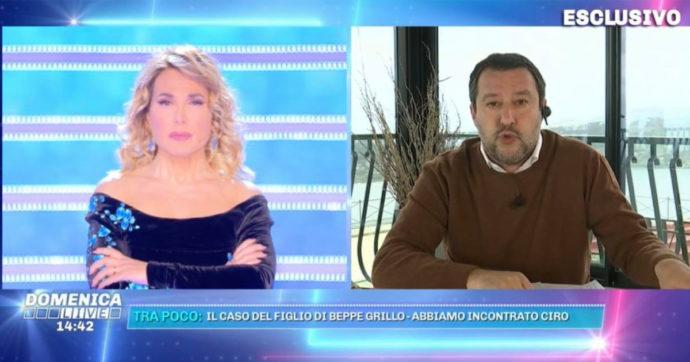 """Domenica Live, Barbara D'Urso interrompe Matteo Salvini per spiegargli a cosa serve il ddl Zan: """"Questo che dici non c'entra niente"""""""