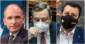 """Governo, Letta a Draghi: """"Insoddisfazione verso il metodo Salvini"""". Il leader della Lega: """"Noi concreti, non ci occupiamo di Ius Soli"""""""