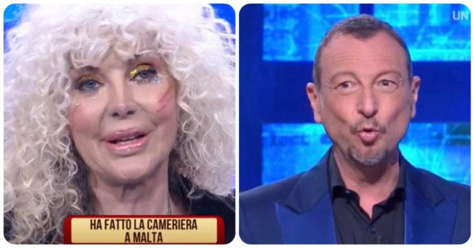 """I Soliti Ignoti, Amadeus stizzito con Donatella Rettore: """"Non mi fai finire di parlare!"""""""