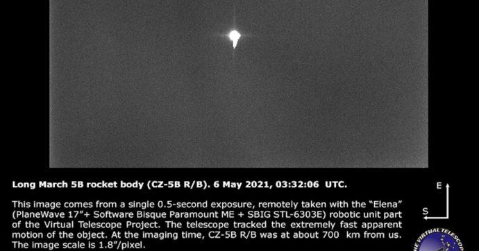 """Ecco la prima foto del razzo spaziale cinese """"Long March 5B"""". Scattata da un italiano"""