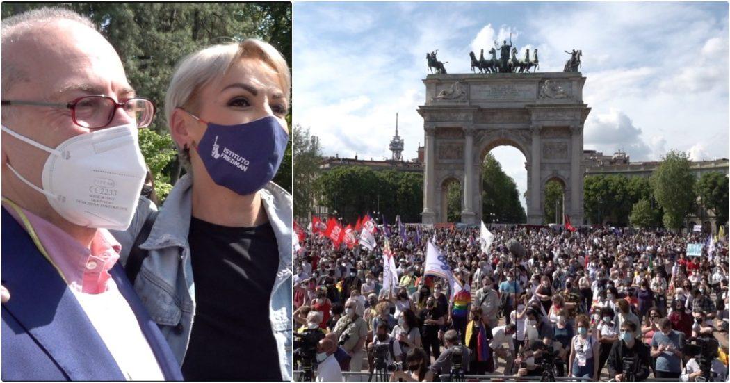 """Ddl Zan, in 8mila alla manifestazione di Milano: """"La gente vuole questa legge che non è per le minoranze ma contro l'odio"""". In  piazza anche Vito (Forza Italia) e Pascale"""