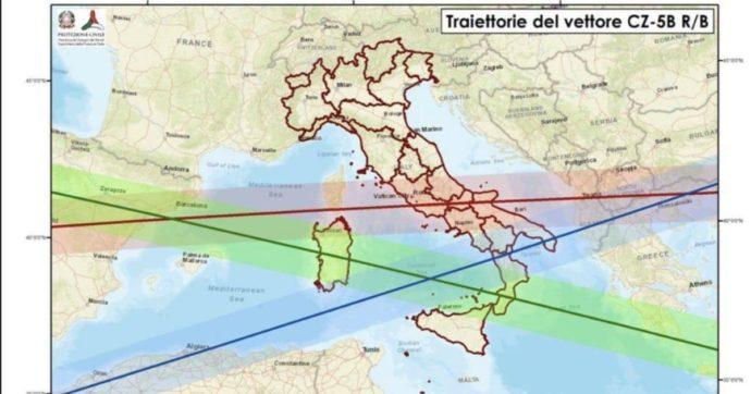 """Razzo cinese, """"porzioni di nove regioni italiane del Sud interessate dalla caduta di frammenti"""""""