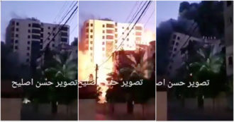 Israele bombarda Gaza, missile distrugge palazzo di 12 piani: il momento del crollo – Video