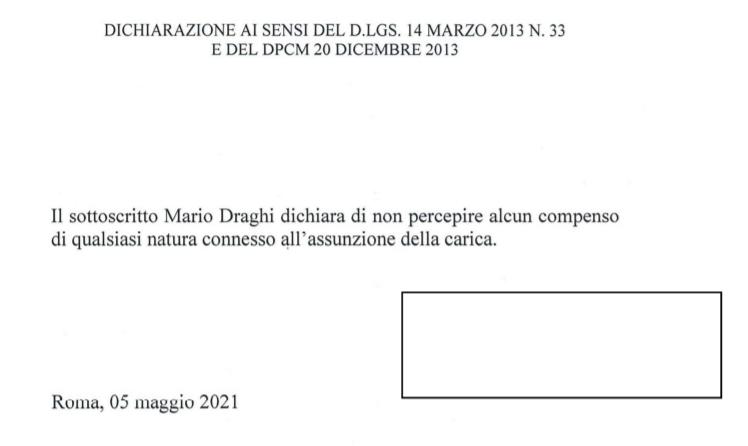 Draghi ha rinunciato al compenso di 114mila euro da presidente del Consiglio. Nel 2019 dichiarati redditi per 581mila euro