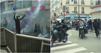 Parigi, la polizia tenta di interrompere la manifestazione pro-Palestina: lanci di lacrimogeni contro le persone – Video