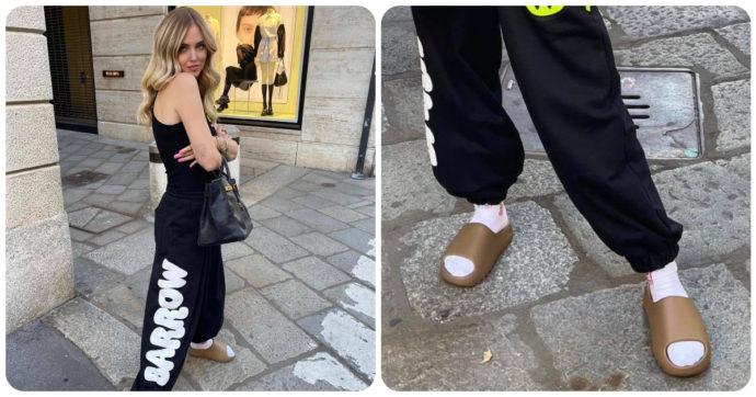 Chiara Ferragni come il Vacca, anche lei in calzini e ciabatte: ma ecco quanto costano